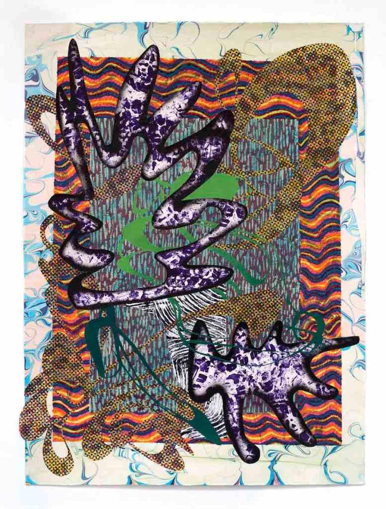 Dionisia Salas_Satin Ground_2017_ oil pastel, screenprint, lino, woodblock and bootprint on marbled paper_110x80cm